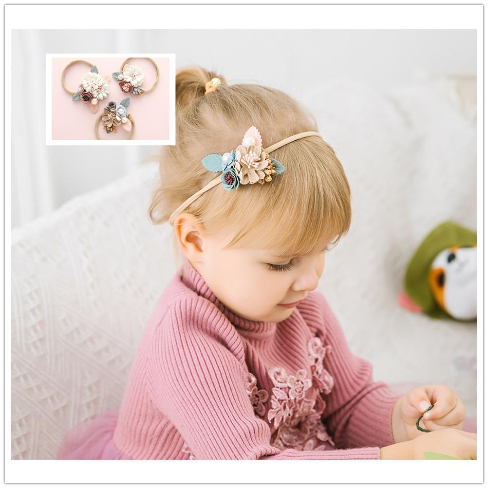 Boutique Flower Headband Kids Girl Nylon Headband Elastic Stretch Headwear