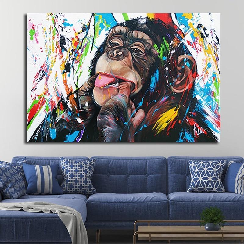 Картина на холсте с изображением милой обезьяны в граффити, цветной печатный плакат и принты, картины на стену, картины для гостиной, домашние украшения