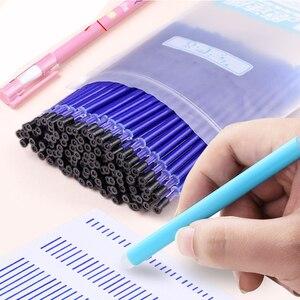 Image 1 - 100 шт./пакет Волшебные стержни для стираемой гелевой ручки, иглы 0,5 мм черные/синие чернила, стирающиеся ручки с ластиком, офисные и школьные принадлежности