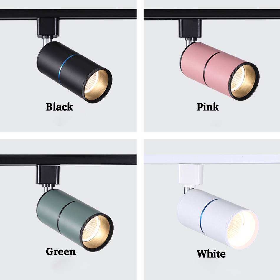 COB 7W 12W 15W Led Track Light Aluminum Ceiling Rail Track Lamps Lights Lighting Fixtures Spotlights 220v For Clothes Store