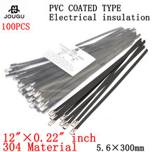 stainless steel Cable Tie 100PCS 5.6 x 300mm 304 material black Strong PVC coated Marine Grade Metal Ties Zip Tie Wraps Exhaust