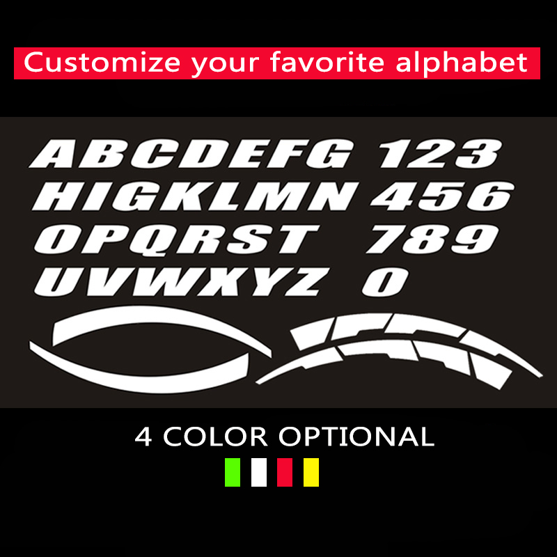2.8cm Height Wheel Stickers Car Tuning Universal 3D Permanent Rubber Lettering Sticker Auto Label Letters Personalized Styling