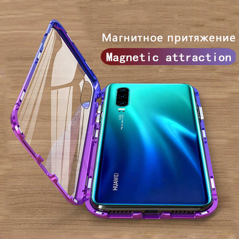 Magnetic Adsorption Case For Huawei Mate 10 20 Pro Case P Smart 2019 Shockproof Cover P30 P20 Lite Tempered Glass Back Cover