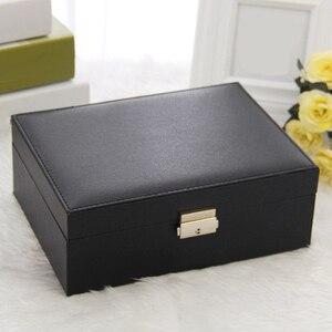 Image 5 - Grote Sieraden Capaciteit Opbergdoos Oorbellen Ketting Box Lederen Ring Sieraden Doos