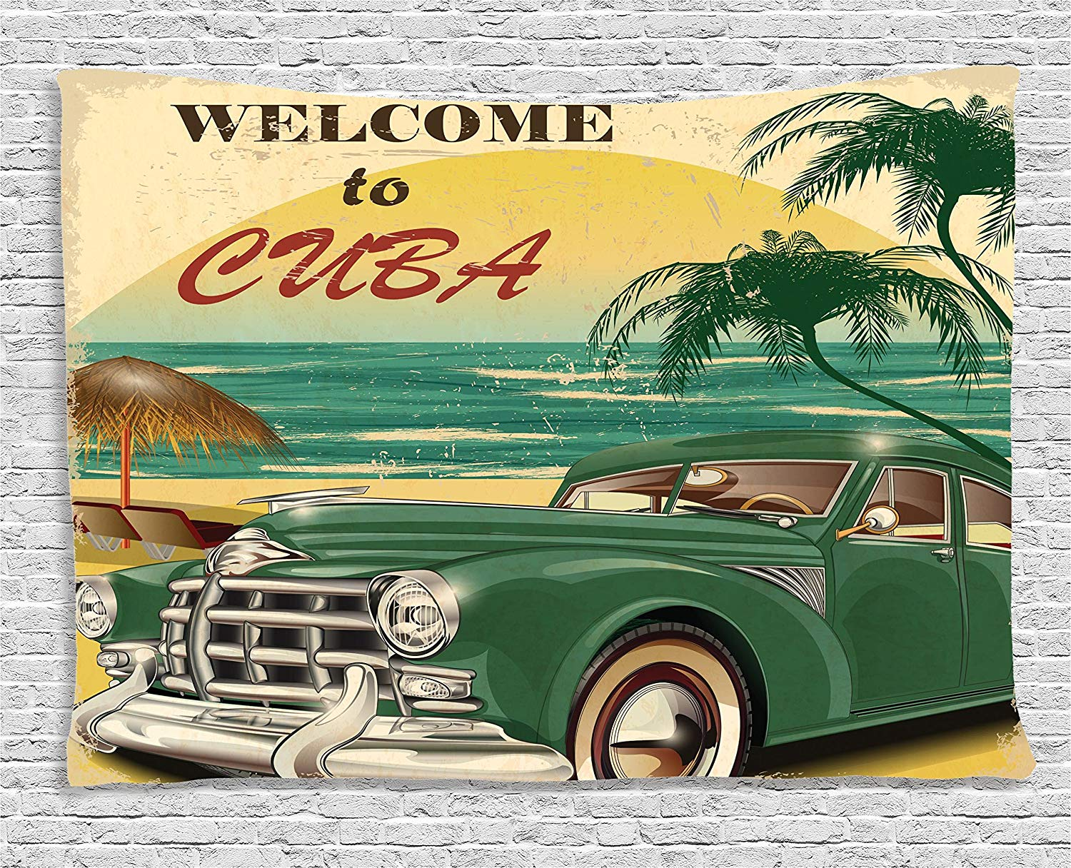 Retro Nostalgic Welcome to Cuba Print with Classic Car Beach Ocean Palm Trees Wide Wall Hanging Green Cream image
