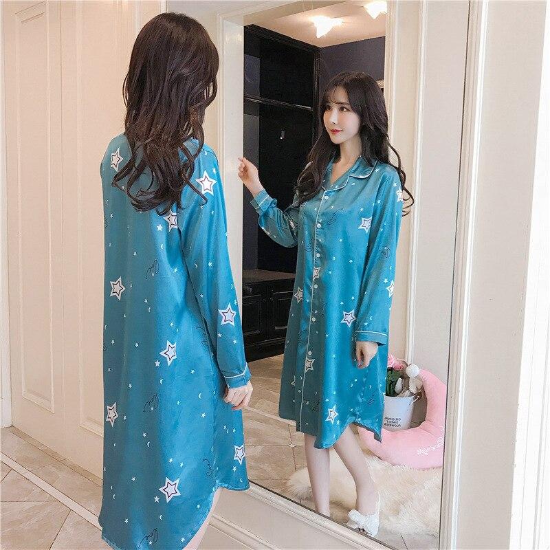 Spring Summer Nightdress Women Printed Sleep Shirts Long Sleeve Sleepwear Silk Nightwear Cute Satin Nightgowns 3XL