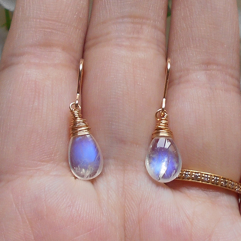 ICNWAY Natural Moonstone 9-10mm Waterdrop  Gemstone Beads   925 Sterling Silver Hook   Earring