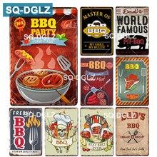 [SQ-DGLZ] cartel de Metal para fiestas de barbacoa, barra de pared, cartel de hojalata, decoración para el hogar, cuadros de pintura, cartel de pizarra