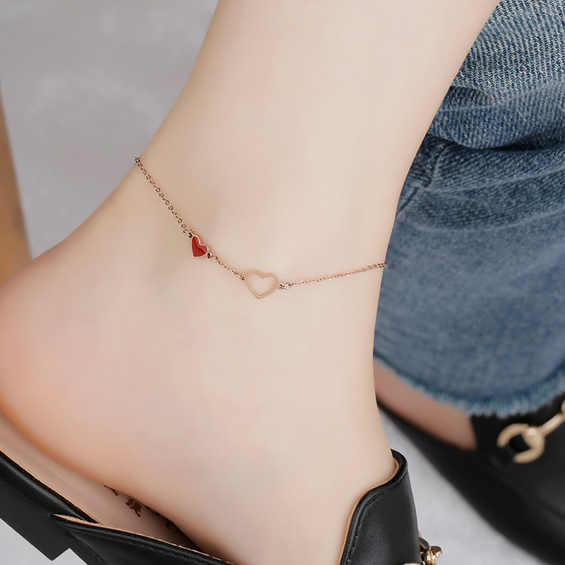 Top Quality 18KGP Rose Gold Color Titanium Steel Red Heart Anklet Women Fashion 316L Stainless Jewelry (GA122)