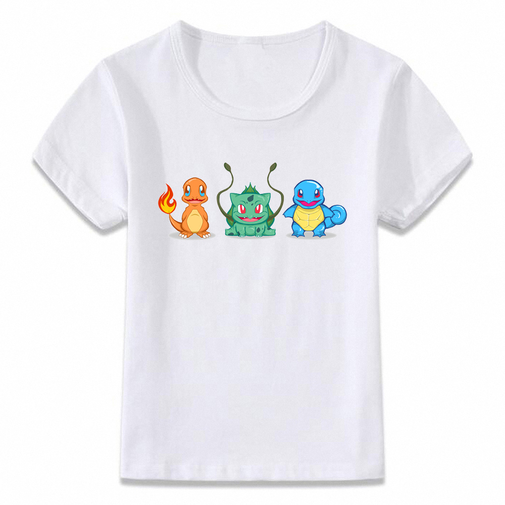 Kids Clothes T Shirt The Starters Pokemon Squirtle Charmander and Bulbasaur Grass Fire Water Boys Girls Toddler Tee BAL155 image