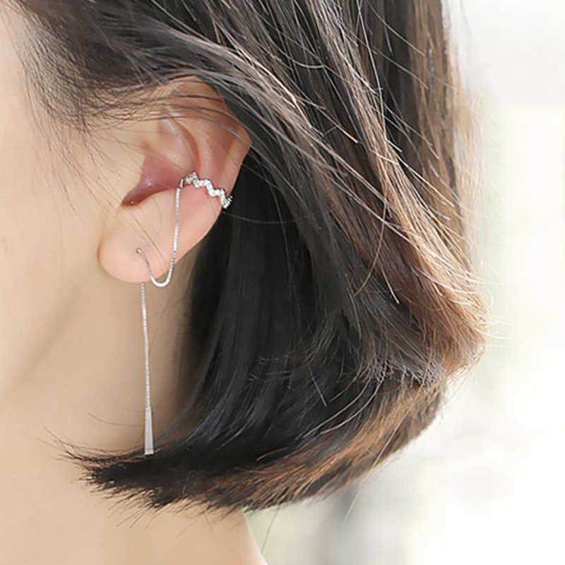 Sterling 925 Silver Long Line Zircon Wave Clip Earrings Silver Elegant Fashionable Earrings for Women 2019 Festival Jewelry Gift