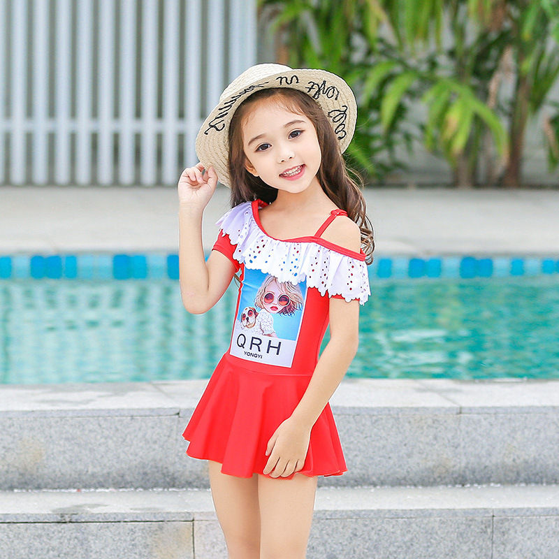 Dress-KID'S Swimwear GIRL'S GIRL'S Swimsuit Female Baby South Korea Big Boy Princess Bubble Hot Spring Tour Bathing Suit