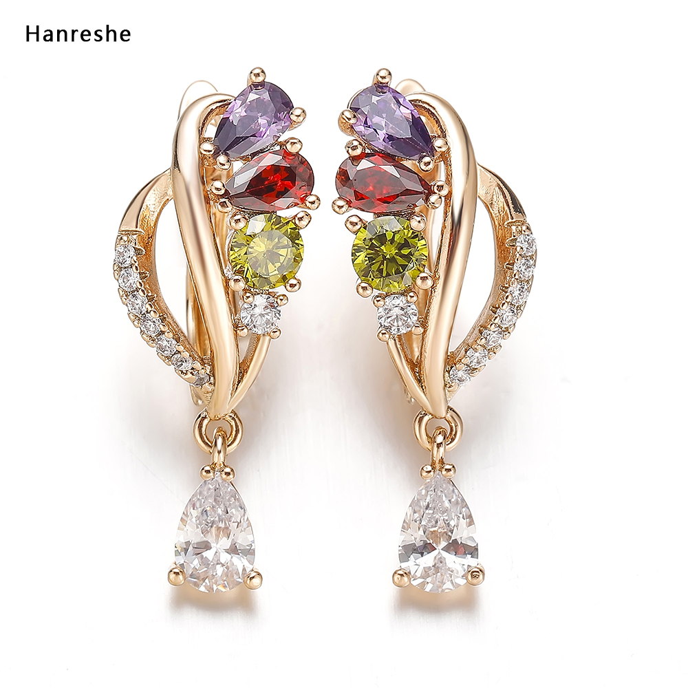 Hanreshe Earrings Women Punk Jewelry Wedding Gift Rose Gold Green Red Natural Zircon Stud Earrings Cute Crystal Small Earrings
