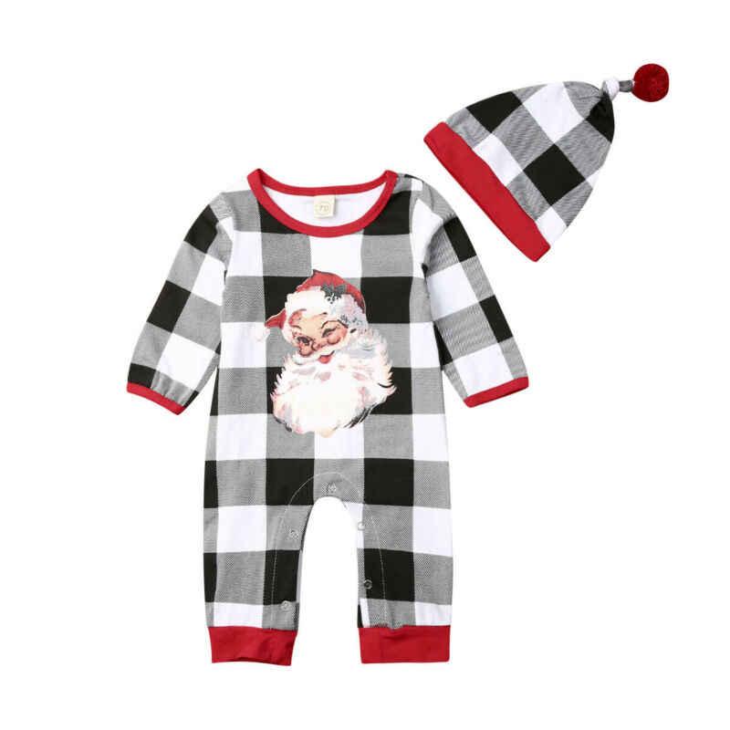 Conjunto de mono a cuadros de Santa Claus para bebés y bebés