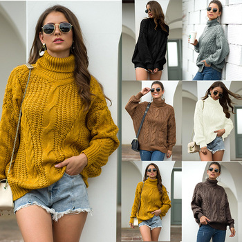 2020 Autumn and Winter New College Wind Knitwear Coat Women Thick Thread Twist Turtleneck Pullover Cardigan Women