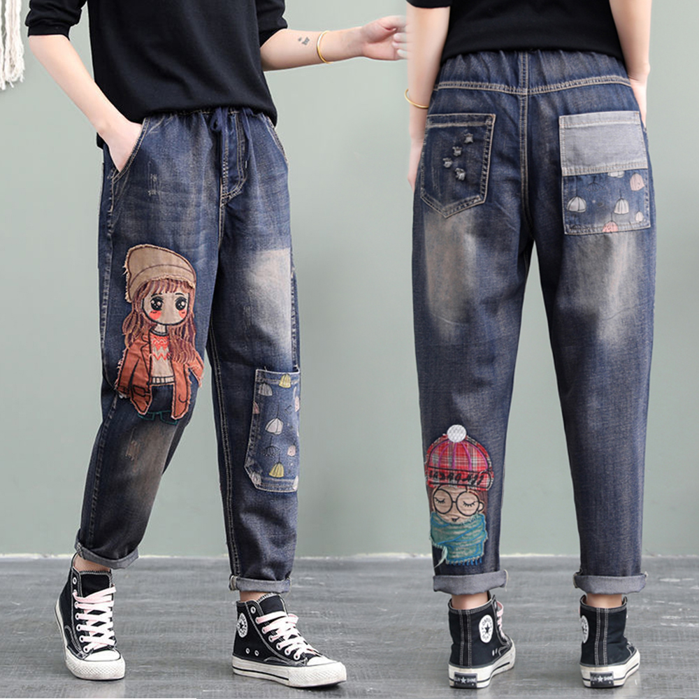 High Quality Women M-XL Retro Patch Embroidered Print Loose Jeans High Waist Cartoon Cute Oversize Harem Pants Cool