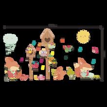 cartoon Forest Animal birdcage music bird wall stickers for kids rooms home decor nursery bedroom decals art