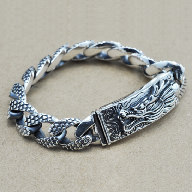 16mm S925 Sterling Silver Big Dragon Bracelet Man Thai Silver Vintage Exquisite Dragon Chain Bracelet Male Jewerly Gift