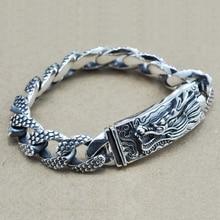16mm S925 ayar gümüş büyük ejderha bilezik adam tay gümüş Vintage zarif ejderha zincir bileklik erkek takı hediye