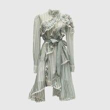 גבוהה באיכות הכי חדש אופנה 2020 מסלול מעצב שמלת נשים של ארוך שרוול לפרוע פסים סימטרי שמלה