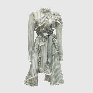 Image 1 - Vestido asimétrico de manga larga con volantes a rayas para mujer, traje de diseñador para pasarela, de alta calidad, a la moda, 2020
