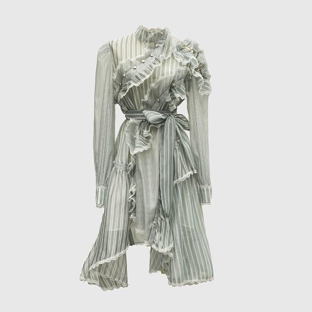 Vestido asimétrico de manga larga con volantes a rayas para mujer, traje de diseñador para pasarela, de alta calidad, a la moda, 2020