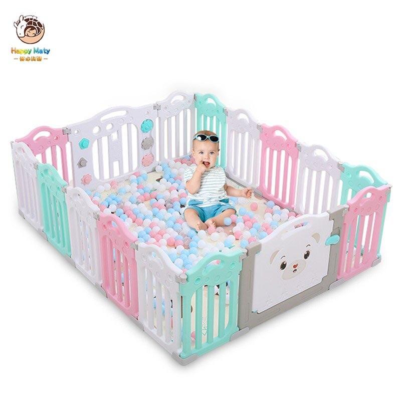 Happymaty Baby Playpen For Kids Ball Pit Children Indoor Playground Game Fence Safety Barrier For Newborn Baby Playpen F06
