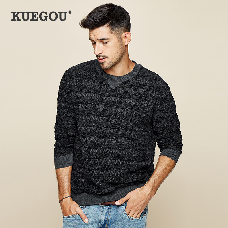 KUEGOU 2019 Autumn Cotton Stripe Black Sweater Men Pullover Casual Jumper For Male Wear Brand Knitted Korean Style Clothes 12673