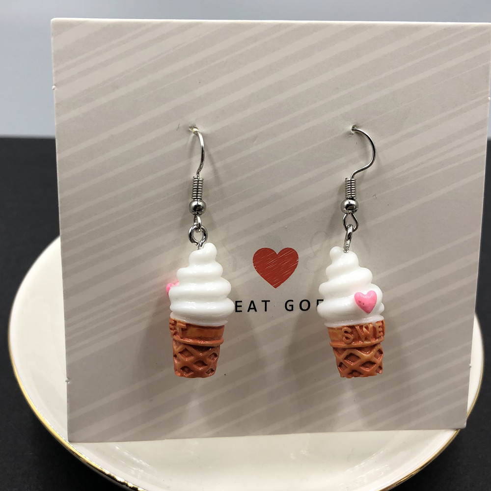 Fashion Creative Simulation Ice Cream Earrings Cute Handmade Earrings Womens Jewelry