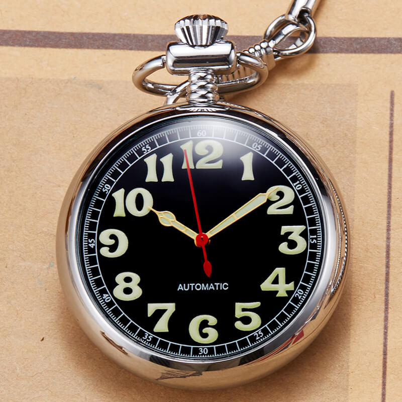 Silver Pocket Watch Copper Automatic Mechanical Pocket Watches Men Women Skeleton Steampunk Self-winding Fob Watch Chain Pendant