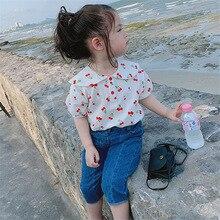Рубашка для девочек топы с воротником «вишня», «Питер Пэн», футболка 19 летняя одежда новая стильная детская одежда для детей от 3 до 8 лет