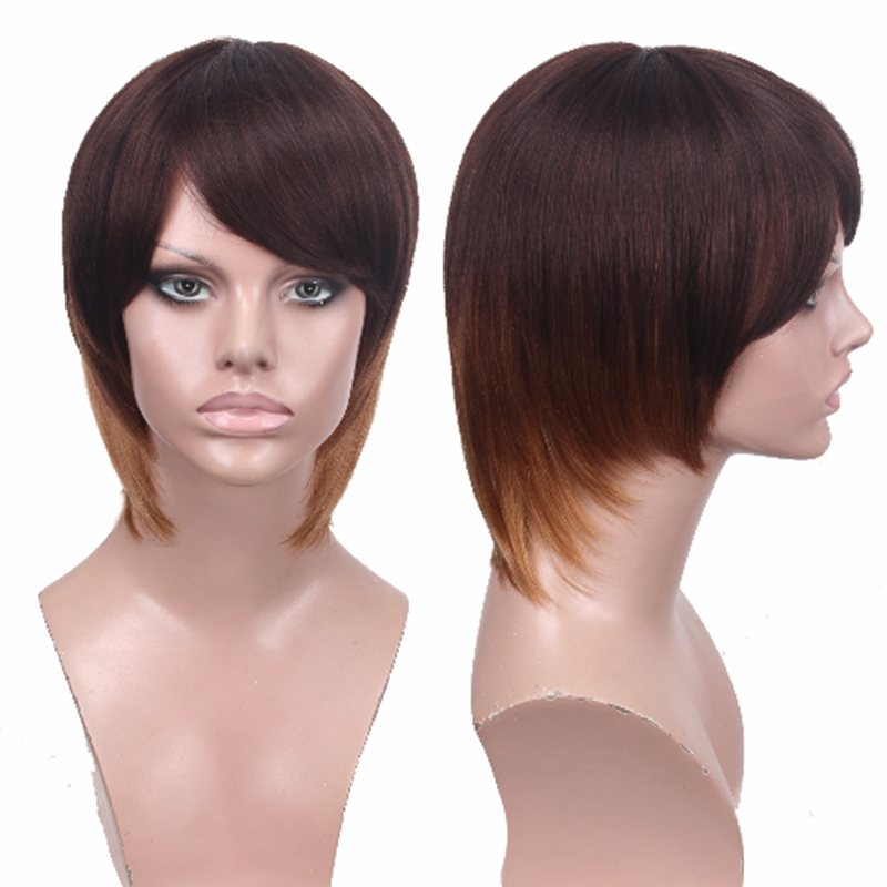 Blonde Ombre Short Bob Human Hair Wig 100% Human Hair Wig For Women Peruvian Straight Non Lace Pixie Cut Wig You May