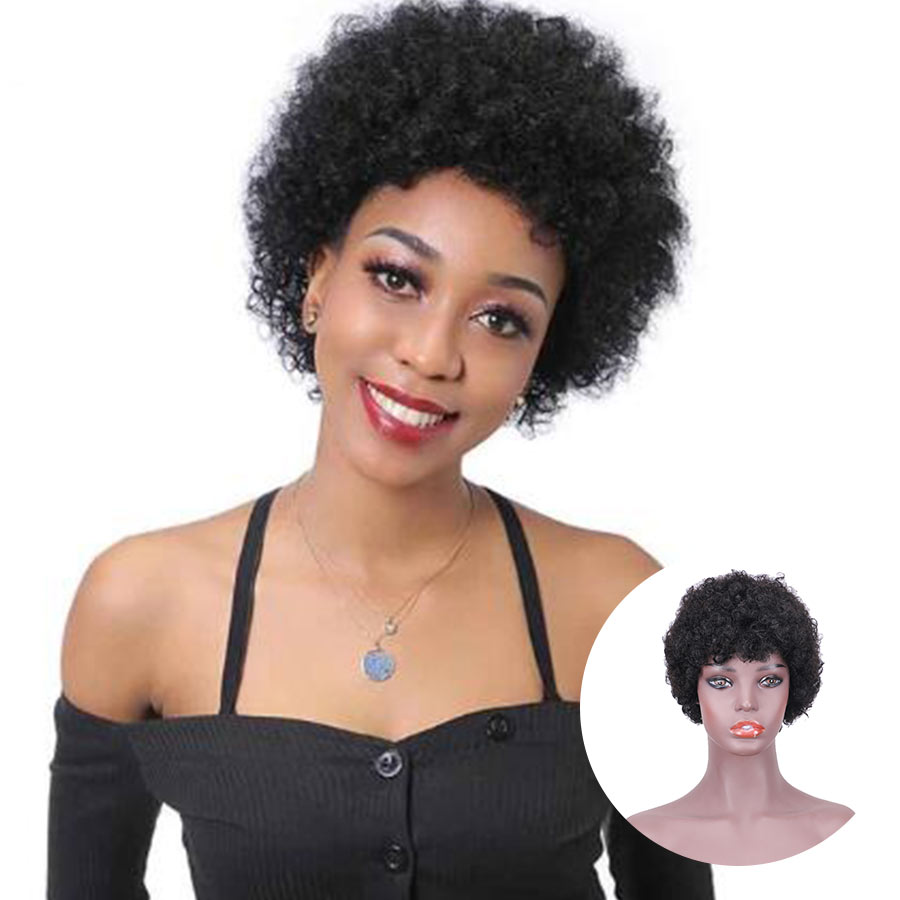 Fashion Lady Machine Wigs Short Curly Human Hair Wigs Free Shipping For You