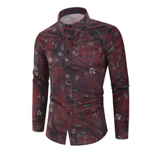 Printed Shirt Long-Sleeve Blouse Casual New-Fashion Autumn Slim Top Men's Personality
