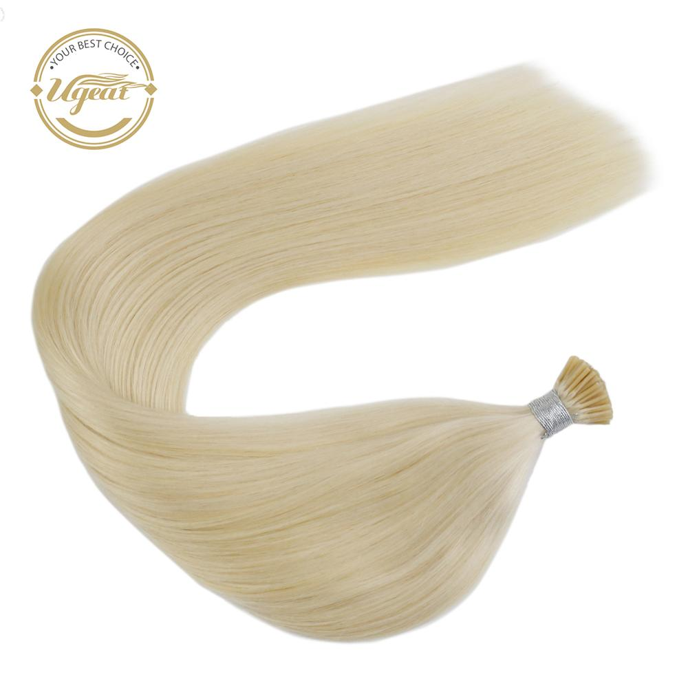 Ugeat I Tip Hair Extensions Human Hair Straight Keratin Fusion Machine Remy 14-24inch 40G/80G Pre Bonded Hair Extensions