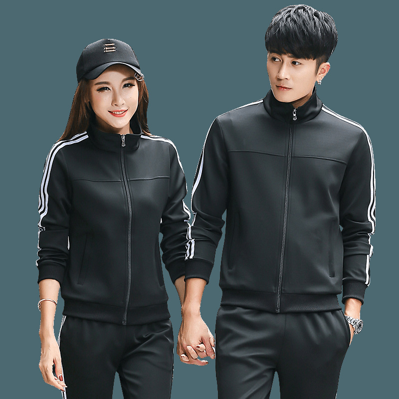 2018 Autumn Couples Cotton Men And Women Casual Sports Clothing Stand Collar Trousers Set Business Attire