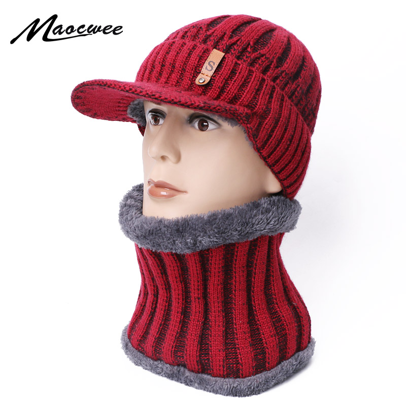 Scarf Hat Set Woman's Man Hats Cap With Brim Unisex Girls Beanie Cap Keep Warm Winter Knitted Skullies Caps Crochet Female