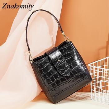 Znakomity crocodile handbag genuine leather bucket ladies bag brand desinger women crossbody bag fashion sac a main shoulder bag