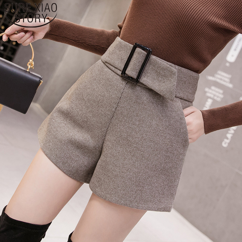 2019 New Autumn And Winter High Waist Shorts Fashion Wool Shorts Women  Casual A-word Wide Leg Elegant Short Women 7800 50
