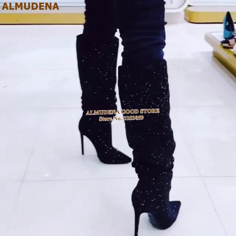 黑色水钻细高跟及膝靴 (3)