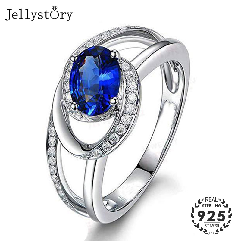 Jellystory Trendy 925 Silver Ring with Oval shape Sapphire Zircon Gemstones for Women Fine Jewelry Wedding Party Gifts size 6-10