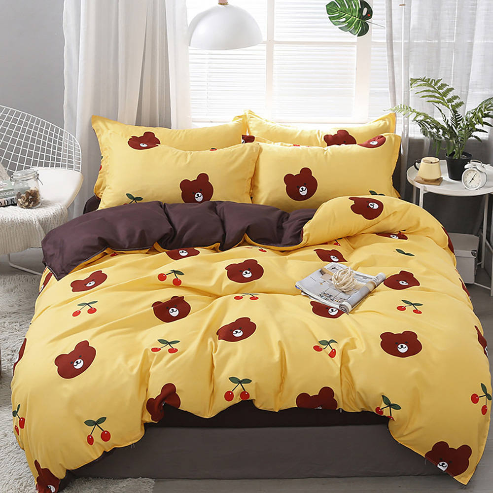 Thumbedding Brown Bear Bedding Set King Cartoon Cute Fashionable Duvet Cover Queen Size Full Twin Single Comfortable Bed Set|Bedding Sets| |  - title=