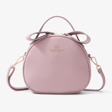 7 Colors small round Fashion Women Shoulder Bag Wallet Zipper Pocket Leather Solid Women's Crossbody Bags Female wallet bag