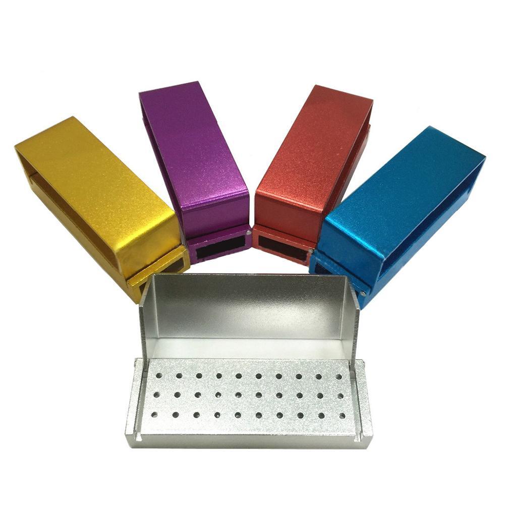 1pc 30-Hole Aluminium Disinfection Box Case Dental Bur Files Holder Block Sterilizer Autoclave Dental Instrument Box For Dentist