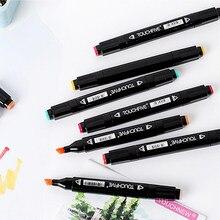 Touchcinco caneta única opcional cor correspondência arte, marcadores, cabeça dupla manga, caneta de desenho, esboço, álcool baseado em caneta 168