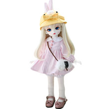 Daily Cute Dress Clothes Set For 1/8 1/6 1/4  BJD Dolls Toys For Children Girls Dolls Birthday Gift  - Pink  ( No Doll ) freeshipping fairyland realpuki tyni doll bjd 1 13 pink smile elves toys gift