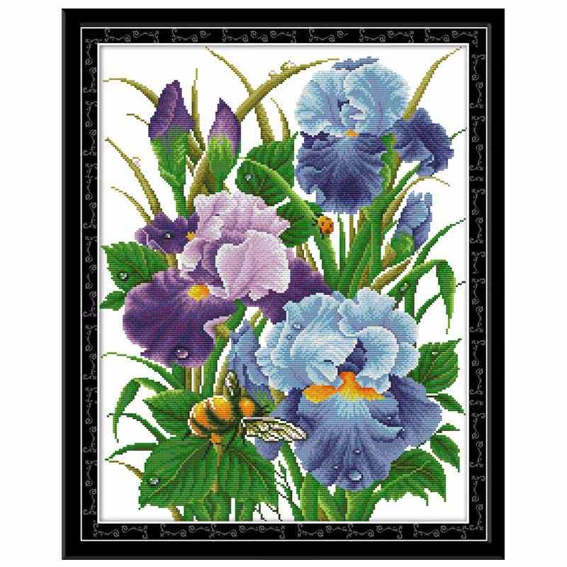 Iris flower painting counted printed on the canvas DMC 11CT 14CT DIY kit Cross Stitch embroidery needlework Sets home decor