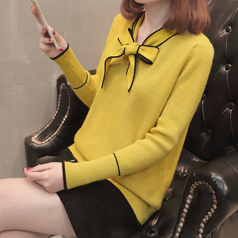 2019 Autumn Winter Pullover Sweater Women Long Sleeve Knitted Sweater Female With Bow Yellow Red Jumper Ladies Clothes
