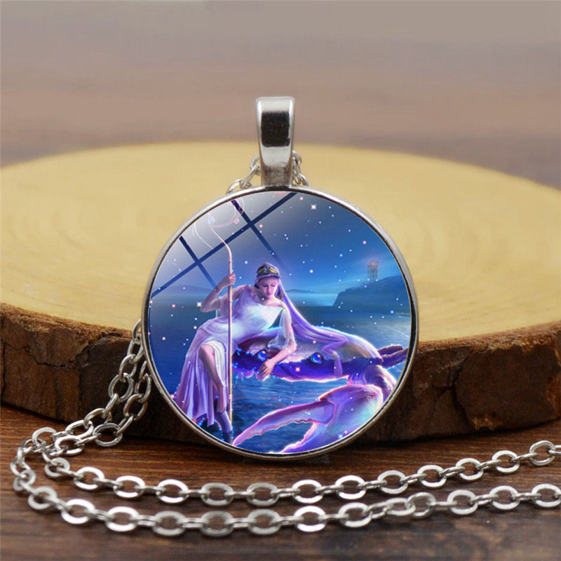 <font><b>12</b></font> <font><b>Constellation</b></font> <font><b>Pendant</b></font> <font><b>Necklace</b></font> <font><b>Zodiac</b></font> <font><b>Signs</b></font> Glass Cabochon Chain <font><b>Necklace</b></font> for Women Girl Gift image