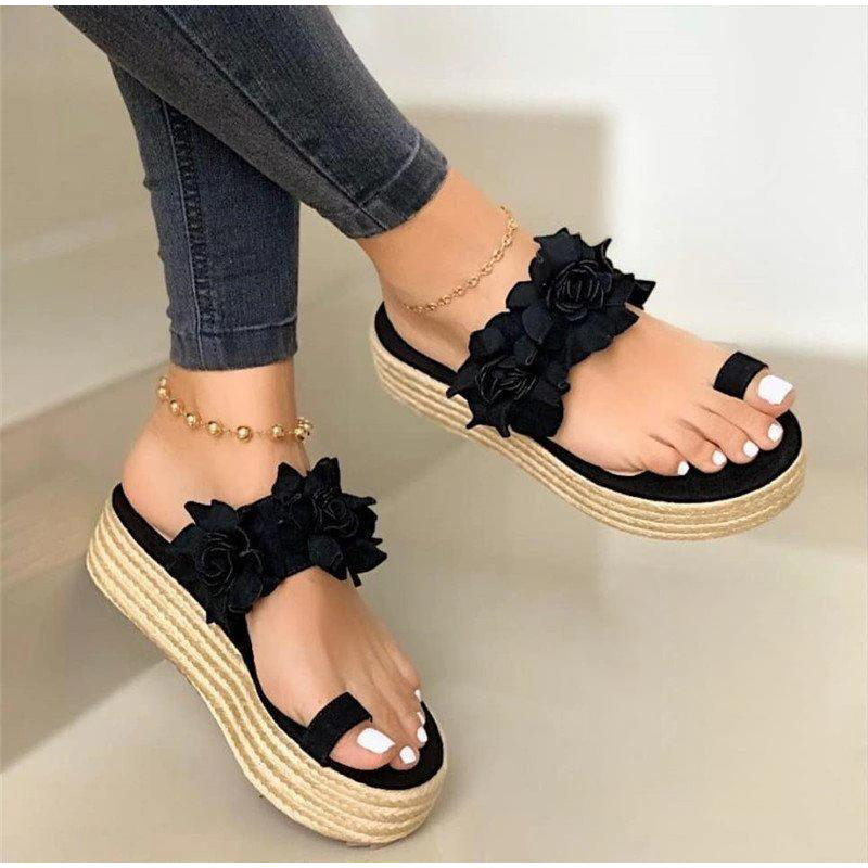 MCCKLE Women Summer Sandals Ladies Open Toe Slip On Flower Platform Thong Shoes Woman Fashion Comfort Casual Female Sandalias